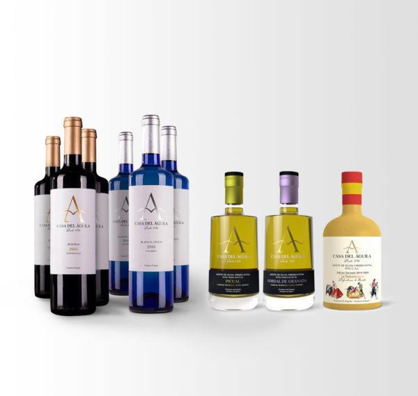 Este pack está compuesto por 3 botellas de Reserva, 3 de Blanco Macabeo, 1 botella Picual Reserva Familiar, 1 botella Picual Serie