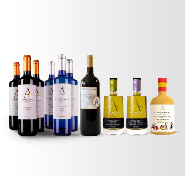 Este pack está compuesto por 3 botellas Gran Reserva, 1 botella Gran Reserva Magnum, 3 botellas de Blanco Macabeo, 1 botella Picual Reserva Familiar, 1 botella Picual Serie «Defendemos lo Nuestro» y 1 botella Gordal Reserva Familiar.