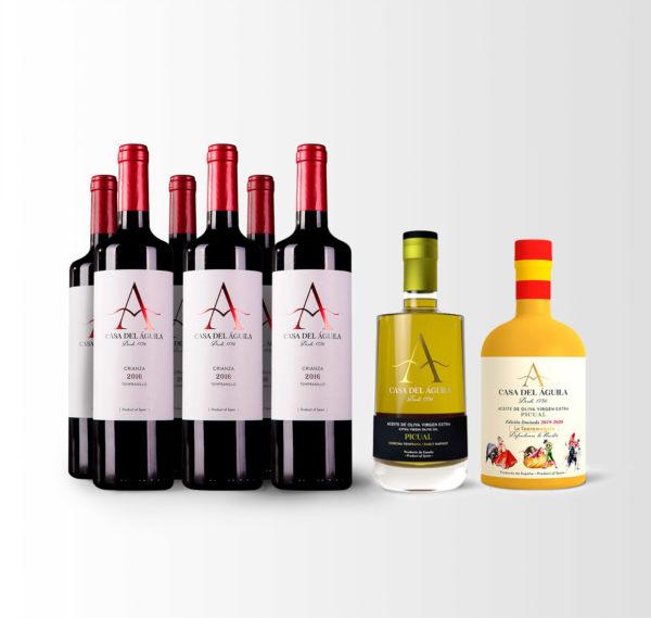 Esta compuesto 6 botellas de nuestro Vino Tinto Crianza, una botella del premiado Aceite Picual Reserva Familiar y una botella del pintoresco Aceite Picual