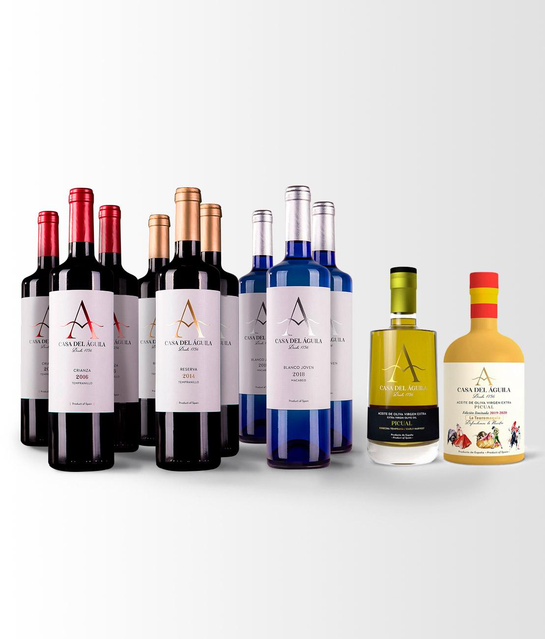 Está compuesto por 3 botellas de nuestro Crianza, 3 botellas de Reserva, 3 de Blanco Macabeo, 1 botella Picual Reserva Familiar, 1 botella Picual Serie «Defendemos lo Nuestro»