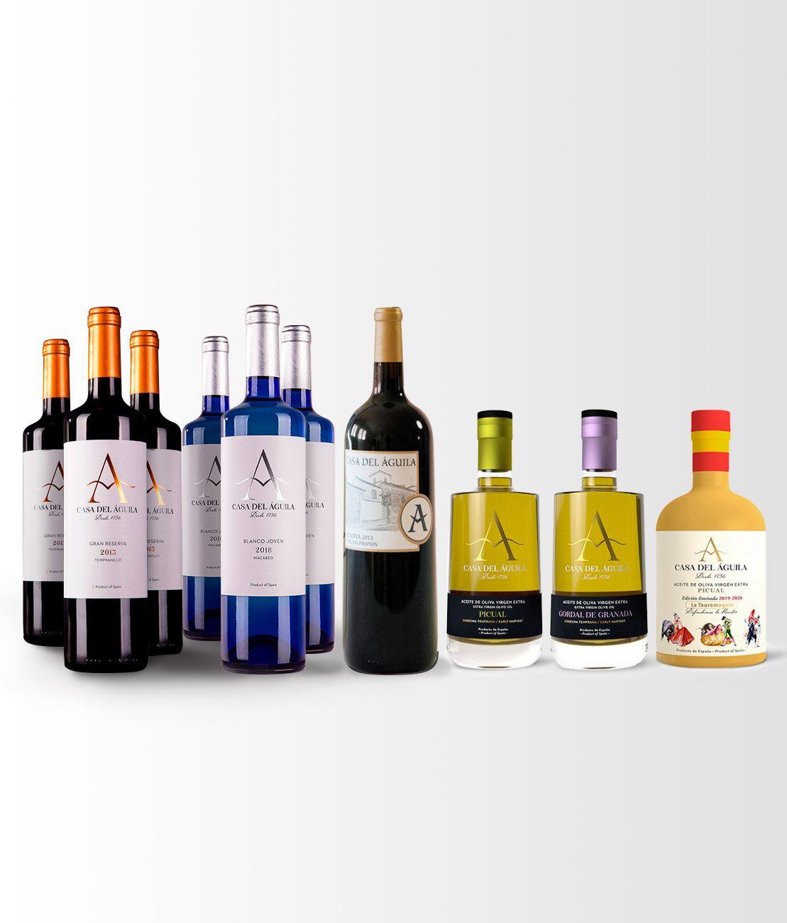 Este pack está compuesto por 3 botellas de Reserva, 3 de Blanco Macabeo, 1 botella Picual Reserva Familiar, 1 botella Picual Serie «Defendemos lo Nuestro» y 1 botella Gordal Reserva Familiar