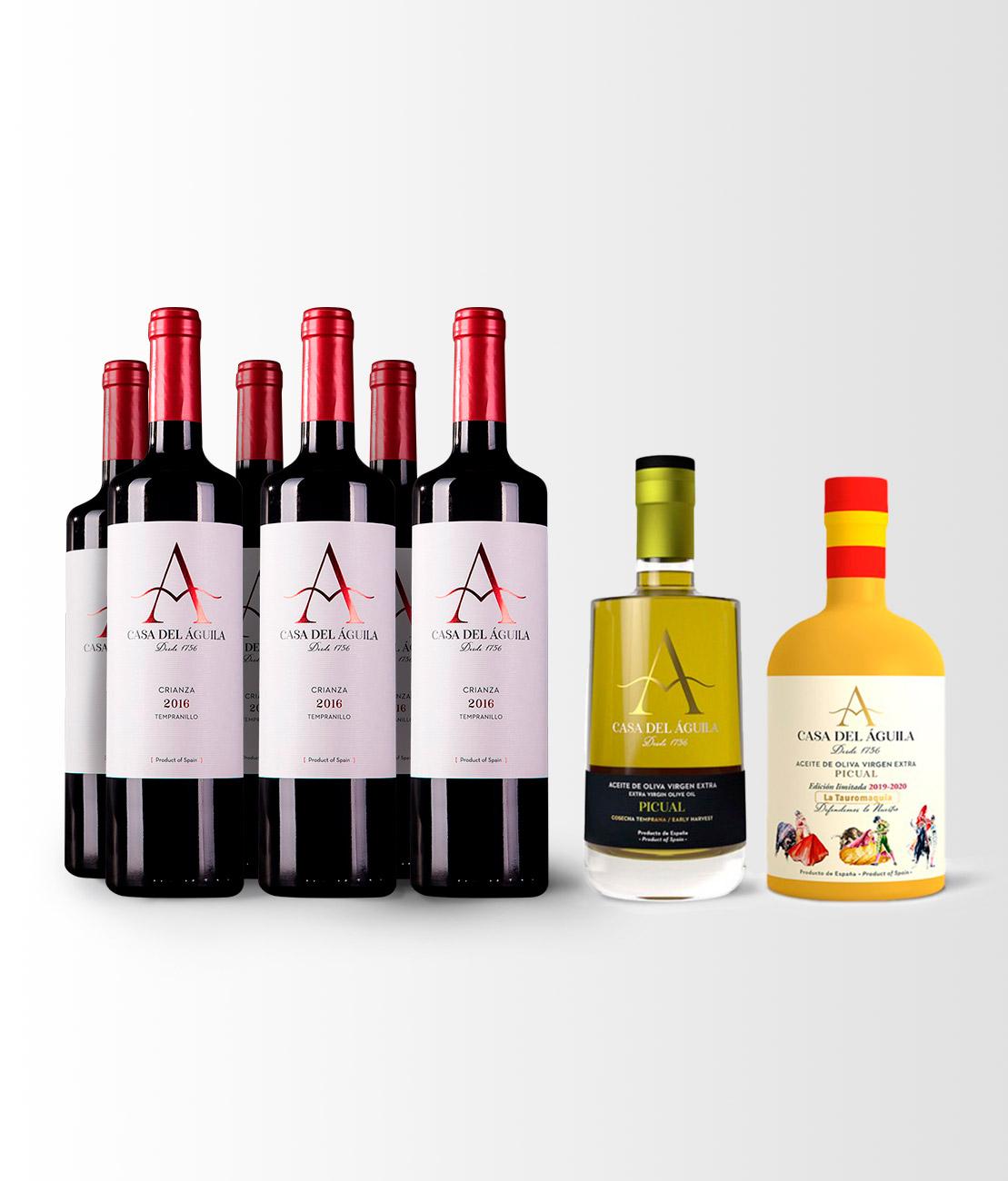 Esta compuesto 6 botellas de nuestro Vino Tinto Crianza, una botella del premiado Aceite Picual Reserva Familiar y una botella del pintoresco Aceite Picual Serie «Defendemos lo Nuestro».