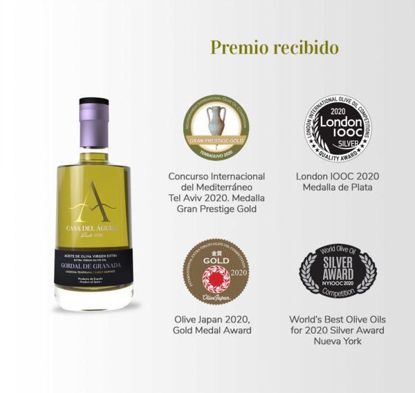 Aceite reconocido como el 2º AOVE Mejor de España, con la medalla Grand Prestige Gold del Concurso Internacional del Mediterráneo 2020