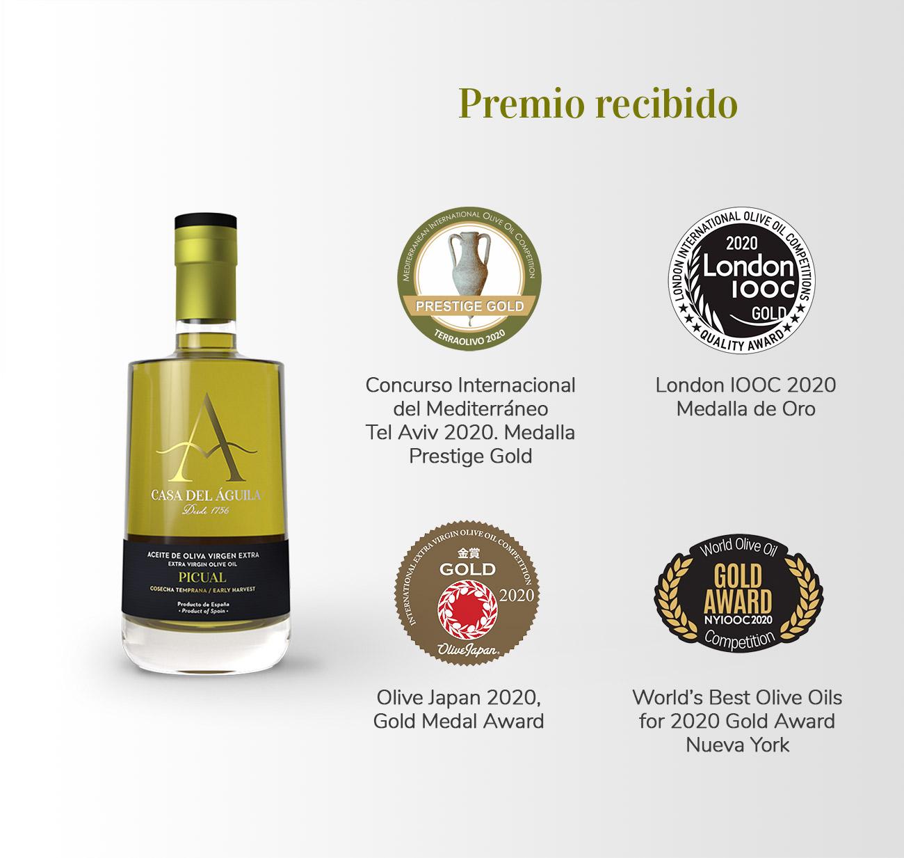 Aceite reconocido con el Prestige Gold del Concurso Internacional del Mediterráneo 2020